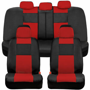 Bdk Faux Leather Car Seat Covers Front Rear Full Set Two Tone In Black Red