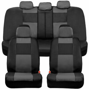Bdk Faux Leather Car Seat Covers Front Rear Full Set Two Tone Black Gray