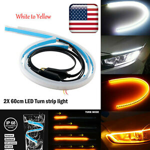 Amber White 60cm Led Turn Strip Light Daytime Running Flowing Turn Signal Slim