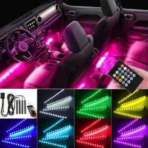 Music Car Interior Lights Led Strip Light 4pcs 36 Led Diy Color Remote Control