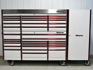 Snap On White Red Trim 84 Epiq Tool Box Top Chest Side Locker
