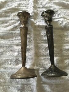 Vintage Pair Krown 8 5 Inch Tall Sterling Silver Weighted Candlesticks