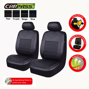 Pu Leather Purple Front Seat Covers Protector Universal Airbag Compatible