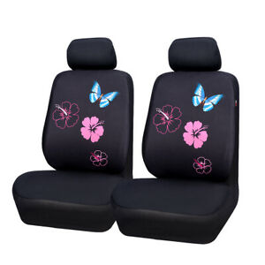 Car Pass Car Seat Cover Butterfly Flower Washable For 2 Front Seat Cover Airbags