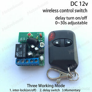 Dc 12v Wireless Remote Control Adjustable Timer Delay Turn On off Relay Switch