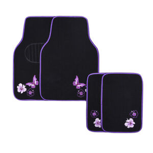 Car Pass Car Floor Mats Purple Universal Fit Embroidery Butterfly And Flower