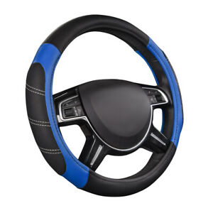Car Pass Car Steering Wheel Cover Blue Leather Comfortable Anti Slip Protection