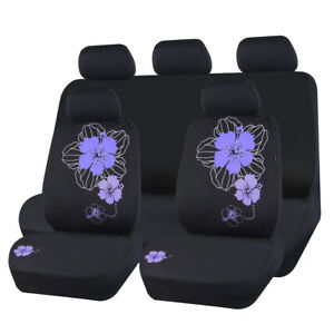 Car Pass Car Seat Covers Purple Mesh Fabric Washable Beautiful Flowers Fit Cars