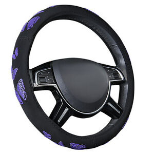 Car Pass New Arrival Butterfly Purple Color Car Steering Wheel Covers For Girls