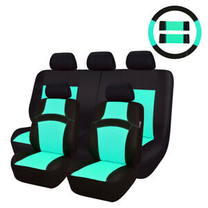 Car Pass Rainbow Universal Fit Car Seat Cover Mint Blue Full Set For 40 60 60 40