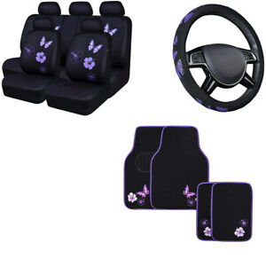 Carpass 16pcs Universal Butterfly Car Seat Covers Floor Mat Steering Wheel Cover