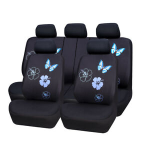 Carpass Full Set Blue Flower Butterfly For Universal Car Seat Covers Split Bench