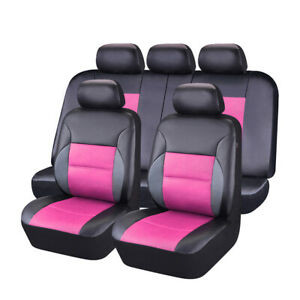 Car Pass Car Seat Cover Sandwich Universal Leather Pink Rear Split Bench 5 Seats