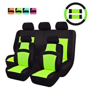 Car Pass Rainbow Summer Universal Fit Car Seat Covers Green Full Set