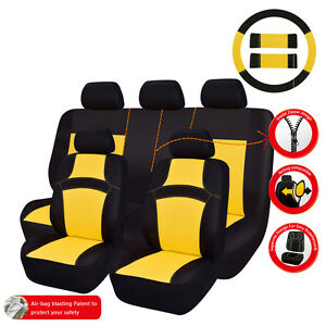 Car Pass Rainbow Summer Universal Fit Car Seat Covers Breathable Yellow Full Set