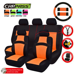 Car Pass Rainbow Universal Fit Car Seat Covers Orange Full Set Rear Split Bench