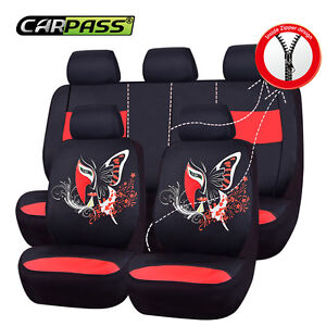 6car Pass Supreme Automobile Universal Fit Car Seat Covers Red Rear Split Bench