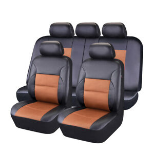 Breathable Sandwich Leather Car Seat Covers Full Synthetic Set 2 Front 1 Bench