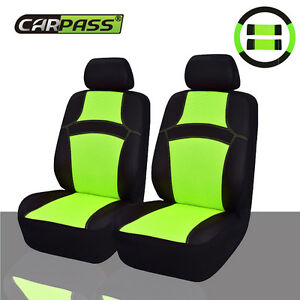 Car Pass Rainbow Breathable Universal Fit Front Car Seat Covers Green