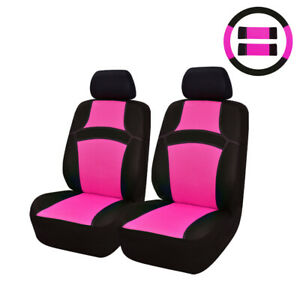 Car Pass Rainbow Breathable Universal Fit Front Car Seat Covers Rose Red