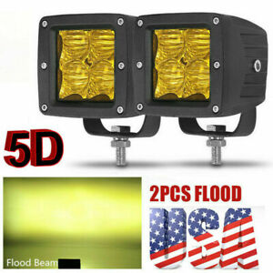 3inch Cube Led Work Light Bar Pods Spot Driving Lamp Yellow Fog Offroad 4wd Us