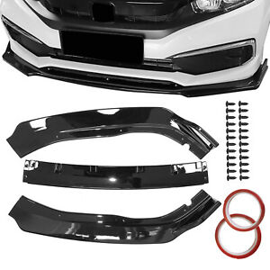 For Honda Accord 2018 2019 Glossy Black Front Rear Bumper Lips Spoiler Side Wing