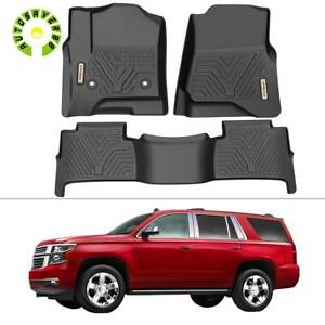 Floor Mats Liners For 2015 2020 Chevrolet Tahoe Gmc Yukon All Weather 3pcs Set