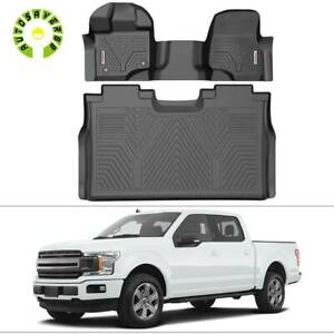 All Weather Floor Mats Liners For 2015 2020 Ford F 150 Super Crew Cab Black Kit
