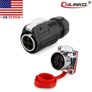 Cnlinko 4 Pin Power Connector Male Plug Female Socket Waterproof Heavy Duty