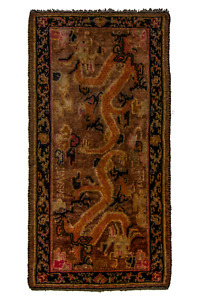Unique Tibetan Double Dragon Khaden Rug Signed C1920 Tibet Plant Dyes 2 6x4 10