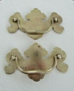 Big 5 5 Vintage Pair Brass Chippendale Drawer Pulls Handles Furniture Hardware