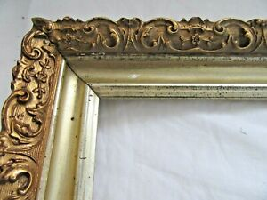 Antique Fit 11 75x 18 75 Gold Picture Frame Wood Gesso Ornate Fine Art Country
