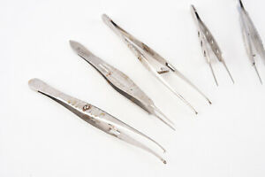 Lot Of 8 Curved Straight Castroviejo Suture Forceps Ophthalmic Optometry V04