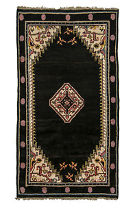 Unusual Art Deco Tibetan Rug Black C1930 Tibet Highland Sheeps Wool 4 1x7 2