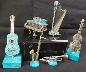 Rare Spanish Sterling Silver And Turquoise Miniature Instrument Group Piano Harp