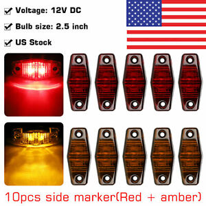 5 Red 5 Amber 12v Led Side Marker Light 2 5 Clearance Lamp Truck Trailer Light