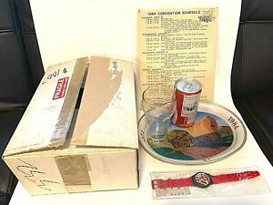 1984 Coca Cola 10th Annual Convention of the Cola Clan Watch Glass Can Tray