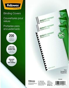 Fellowes Crystals Clear Pvc Binding Covers 8mil Letter 200 Pack 5204303