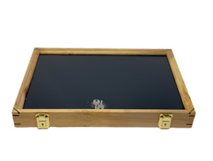 Maple Deluxe Wood Display Case 12 X 18 X 2 For Arrowheads Knifes Collectibles