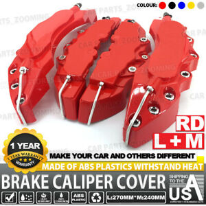 4pcs Red 3d Brake Caliper Covers Style Disc Universal Car Front And Rear Kit L m