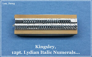 Kingsley Machine Type 12pt Lydian Italic Numerals Hot Foil Stamping Machine