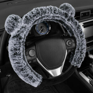Faux Fur Steering Wheel Cover Universal Fit With Cute Animal Bear Ears Warm