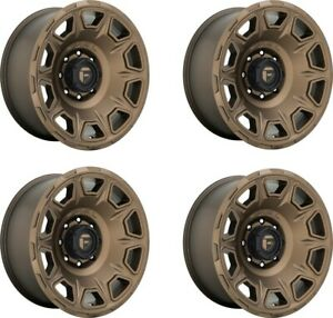 Set 4 17 Fuel D687 Vengeance 17x9 Matte Bronze 5x5 Wheels 12mm Jeep Truck Rims