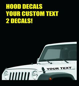 Hood Decals Custom Text Fits All Jeep Wrangler Renegade Gladiator