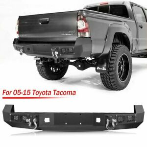 Textured Steel Rear Bumper With Led Lights D rings For Toyota Tacoma 2005 2015