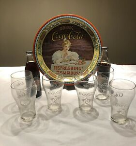 Coca-Cola 75th  Anniversary Collectibles (Glasses  Bottles  Tray)