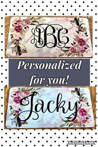 Personalized Monogram License Plate Marble Custom Pink Car Tag Initials New