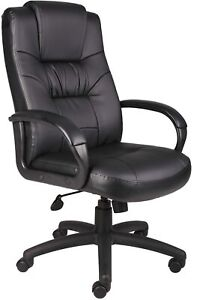 Boss Office Products Executive High Back Leatherplus Chair Knee Tilt Black