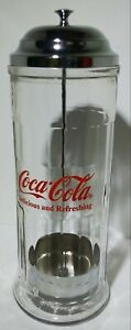 Vintage 1992 Coca-Cola Glass Straw Dispenser W/ Chrome Plated metal lid Canister