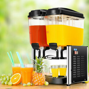 9 5 Gallon 2 Tanks Stainless Steel Cold Beverage Juice Dispenser Home Event New